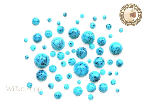 2mm - 8mm Half Round Light Turquoise Flat Back Acrylic Cabochon Nail Art