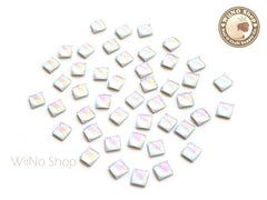 5mm AB Rainbow Opal Square Flat Back Acrylic Cabochon Nail Art - 10 pcs