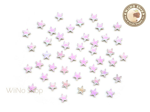 5mm AB Rainbow Opal Star Flat Back Acrylic Cabochon Nail Art - 10 pcs