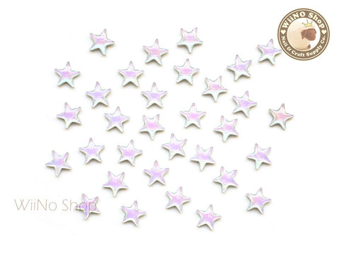 7mm AB Rainbow Opal Star Flat Back Acrylic Cabochon Nail Art - 10 pcs