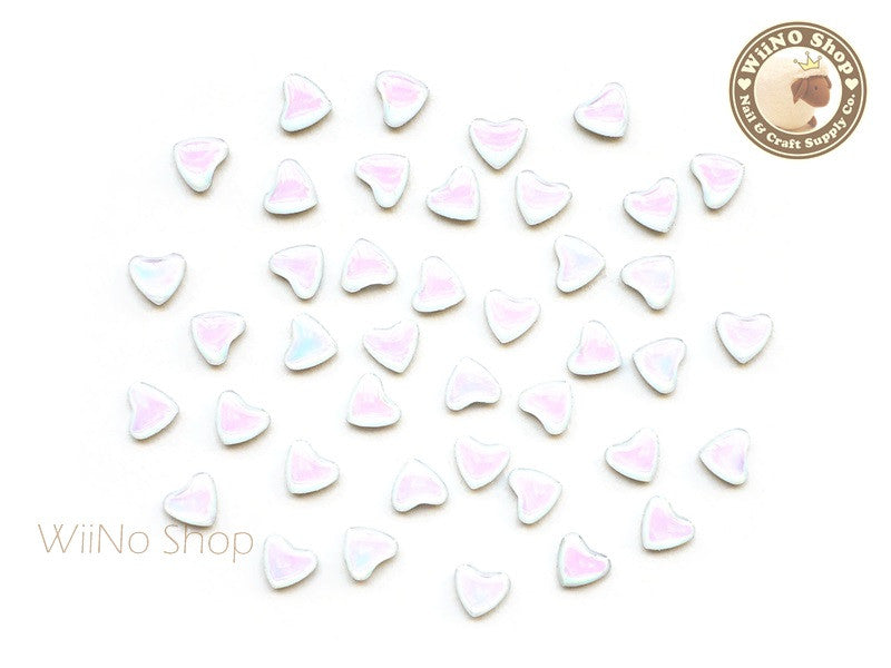 6mm AB Rainbow Opal Heart Flat Back Acrylic Cabochon Nail Art - 10 pcs