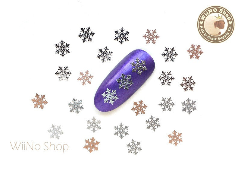 Silver Stellar Snowflake Ultra Thin Nail Art Metal Decoration - 25 pcs