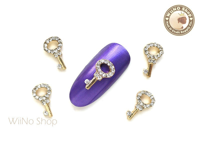 Gold Key Nail Metal Charm Nail Art - 2 pcs