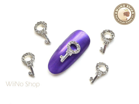 Silver Key Nail Metal Charm Nail Art - 2 pcs