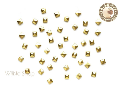 3mm Gold Square Pyramid Metal Studs - 25 pcs