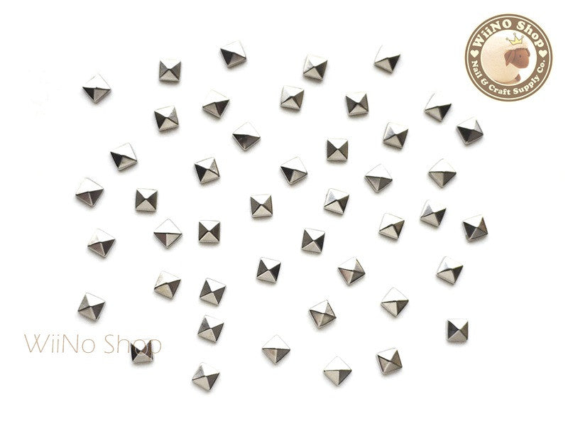 3mm Silver Square Pyramid Metal Studs  - 25 pcs