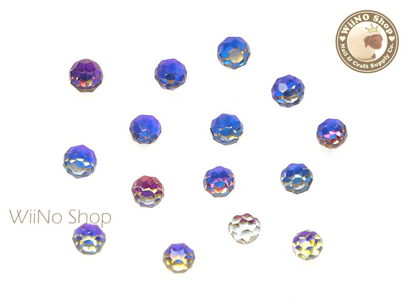 4mm Blue Rainbow 3D Globe Crystal Rhinestone - 5 pcs