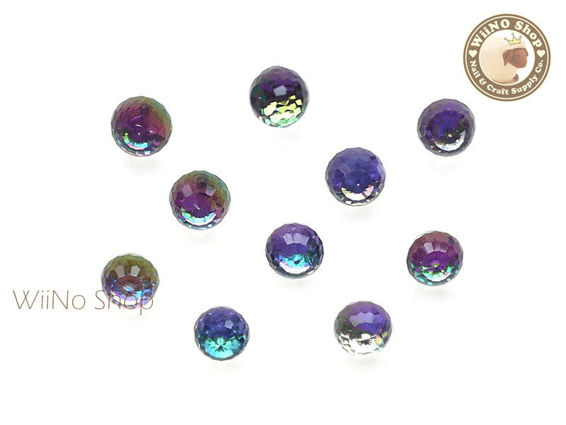 6mm Purple Rainbow 3D Globe Crystal Rhinestone - 5 pcs