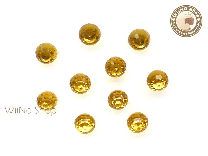 6mm Yellow 3D Globe Crystal Rhinestone - 5 pcs