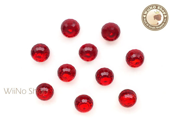6mm Red 3D Globe Crystal Rhinestone - 5 pcs