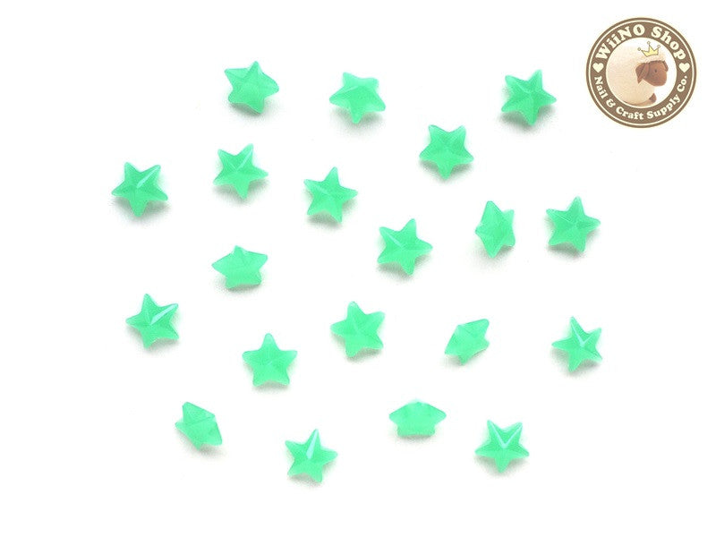 6mm Jelly Mint Star 3D Point Back Acrylic Rhinestone Nail Art - 15 pcs
