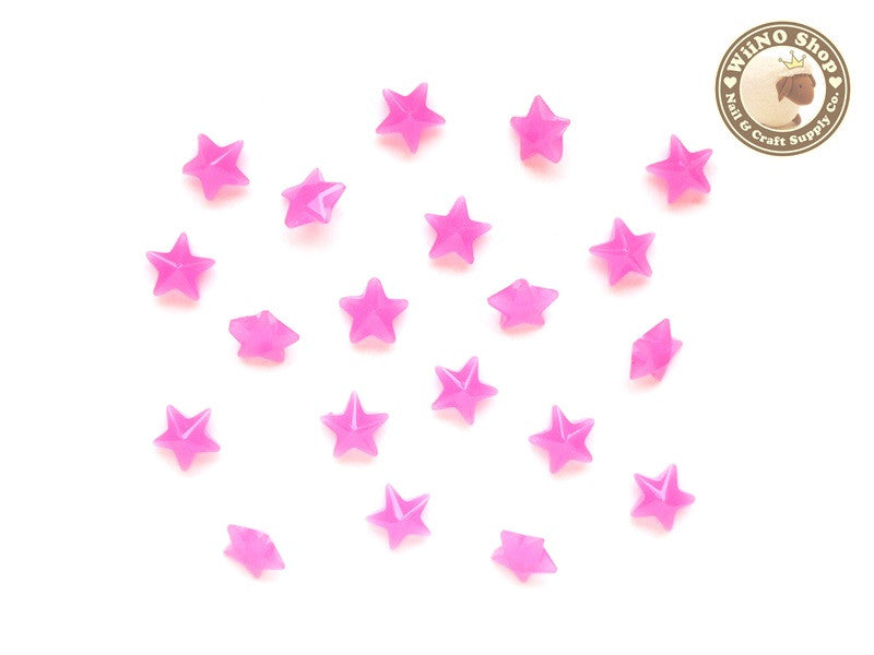 6mm Jelly Pink Star 3D Point Back Acrylic Rhinestone Nail Art - 15 pcs