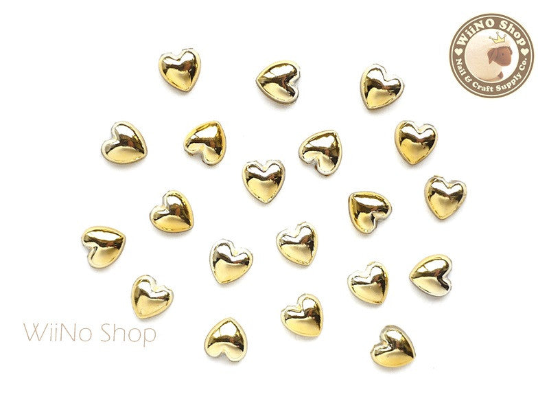 6mm Heart Gold Chrome Flat Back Acrylic Cabochon Nail Art - 10 pcs