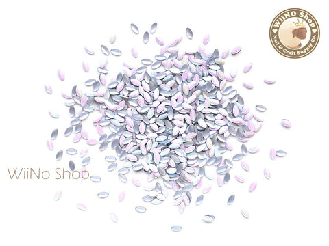 1.5 x 3mm AB White Mini Marquise Metal Studs - 100 pcs