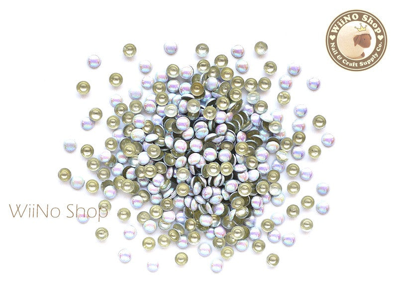 3mm AB White Round Dome Metal Studs - 100 pcs