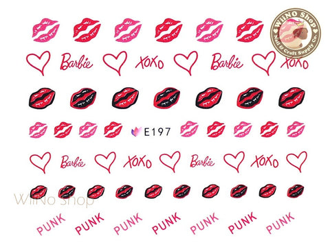 E197 Fashion Doll Lipstick XOXO Nail Sticker Nail Art - 1 pc