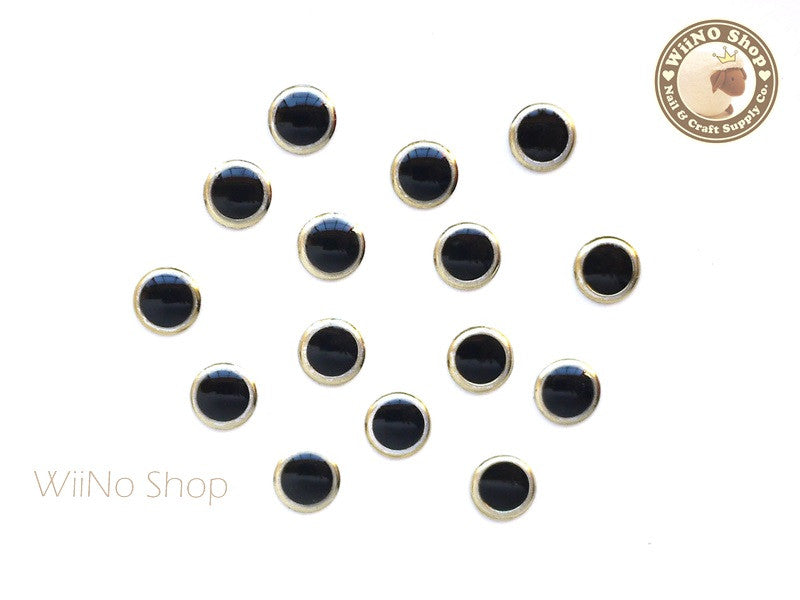 6mm Round Black Light Gold Rim Nail Art Decoration- 10 pcs