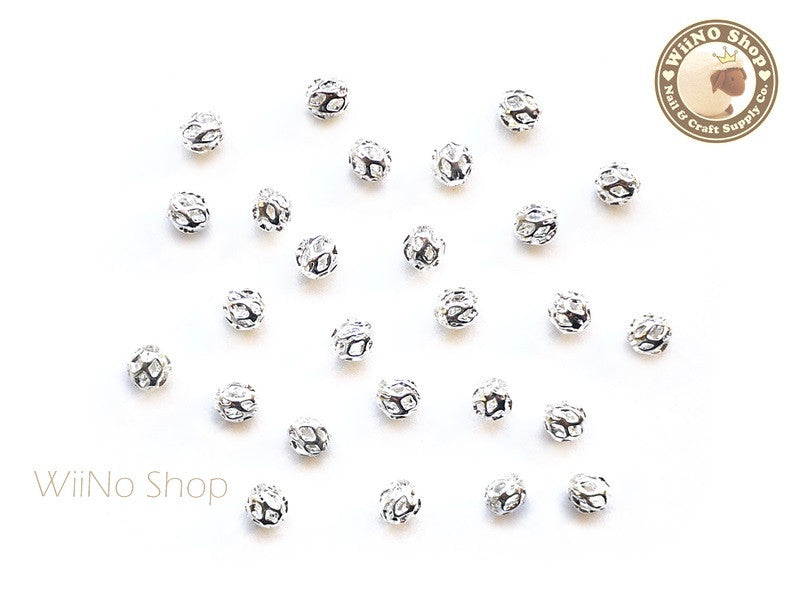 4mm Silver Hollow Round Beads Nail Art Decoration- 10 pcs