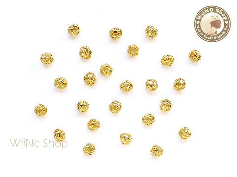 4mm Gold Hollow Round Beads Nail Art Decoration- 10 pcs
