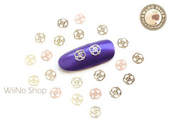 Gold Camellia Ultra Thin Metal Decoration Nail Art - 25 pcs