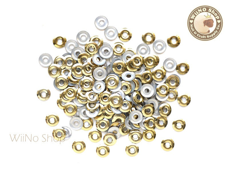 6mm Gold Circle Ring Metal Studs - 50 pcs