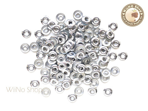6mm Silver Circle Ring Metal Studs - 50 pcs