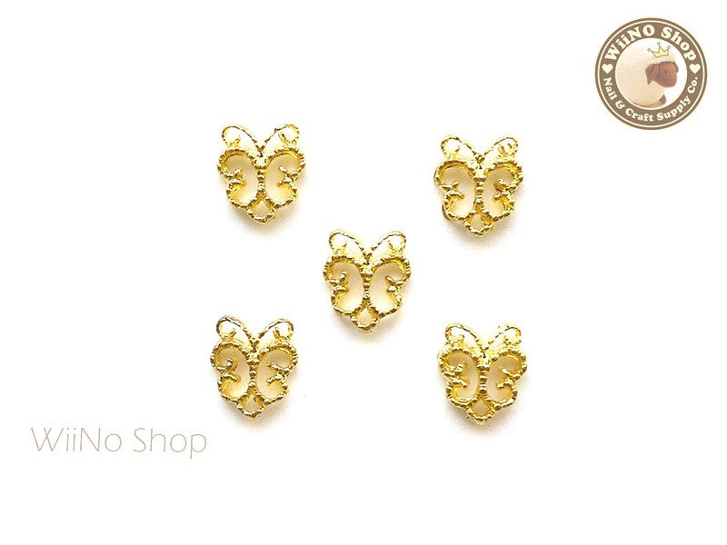 Gold Butterfly Pattern Frame Nail Art Decoration - 5 pcs