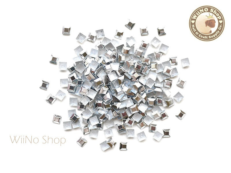 3mm Silver Square Metal Rhinestuds - 50 pcs