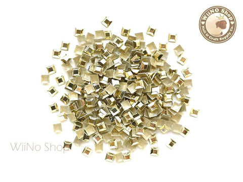 3mm Gold Square Metal Rhinestuds - 50 pcs