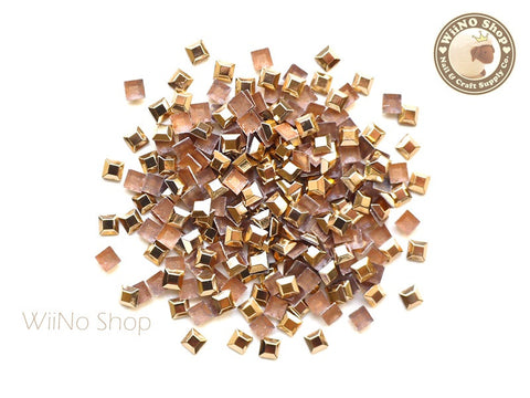 3mm Rose Gold Square Metal Rhinestuds - 50 pcs