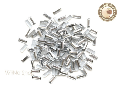 7 x 2.5mm Silver Rectangle Metal Rhinestuds - 50 pcs