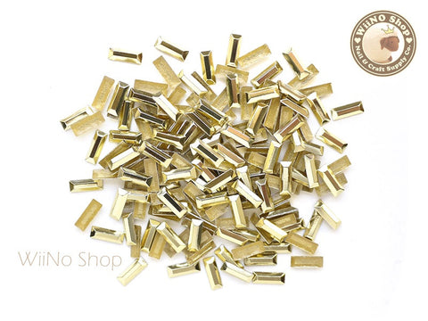 7 x 2.5mm Gold Rectangle Metal Rhinestuds - 50 pcs
