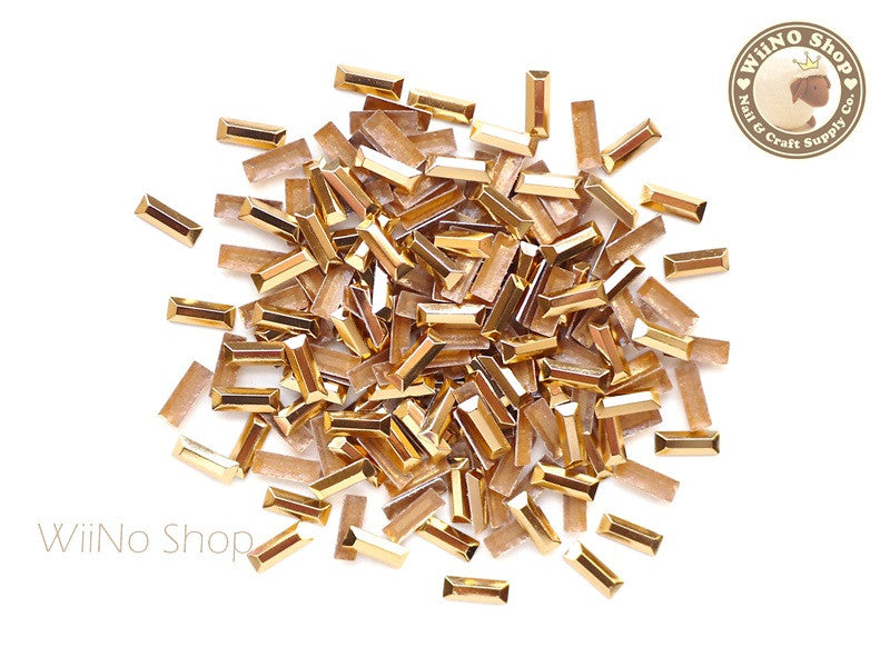 7 x 2.5mm Rose Gold Rectangle Metal Rhinestuds - 50 pcs