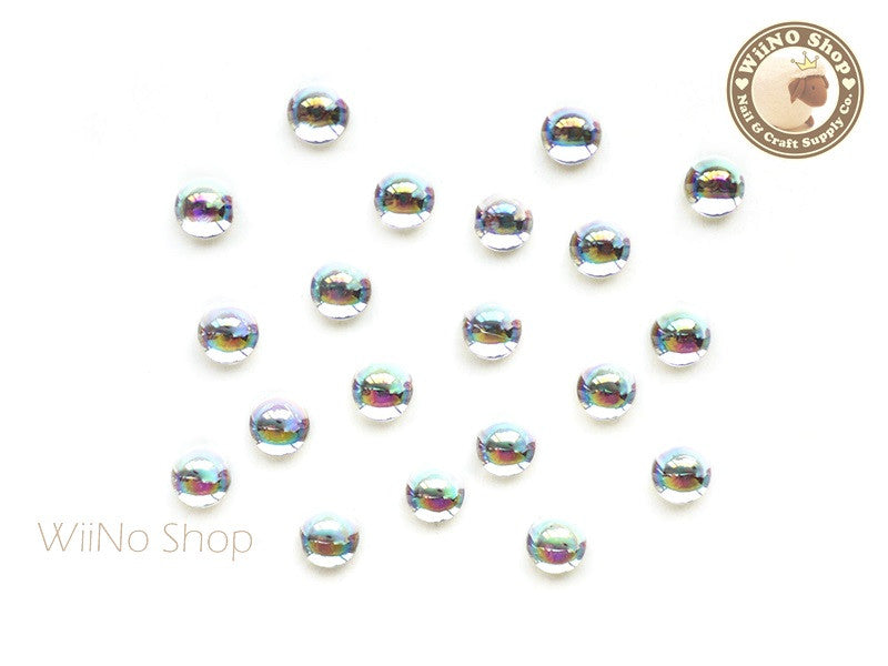 5mm AB Translucent Clear Half Round Flat Back Acrylic Cabochon Nail Art - 15 pcs