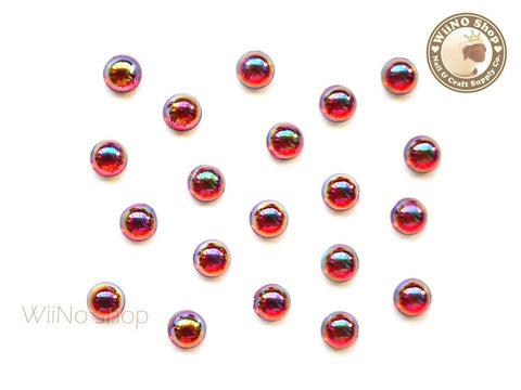 5mm AB Translucent Red Half Round Flat Back Acrylic Cabochon Nail Art - 15 pcs