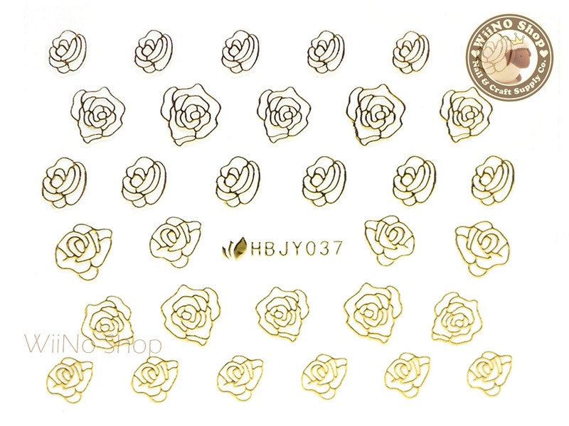 HBJY037 Gold Rose Nail Sticker Nail Art - 1 pc