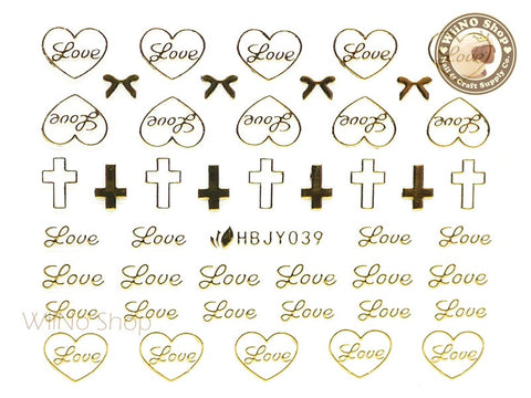 HBJY039 Gold Love Cross Nail Sticker Nail Art - 1 pc