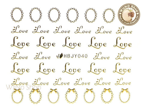 HBJY040 Gold Love Frame Nail Sticker Nail Art - 1 pc