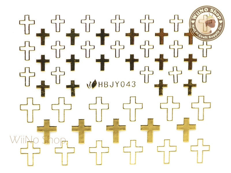 HBJY043 Gold Cross Nail Sticker Nail Art - 1 pc