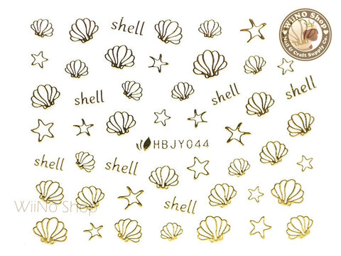 HBJY044 Gold Shell Starfish Nail Sticker Nail Art - 1 pc