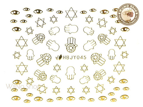 HBJY045 Gold Hand Eye Nail Sticker Nail Art - 1 pc