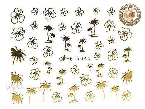 HBJY046 Gold Palm Tree Hibiscus Nail Sticker Nail Art - 1 pc