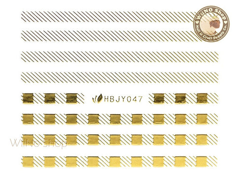 HBJY047 Gold Check Stripe Nail Sticker Nail Art - 1 pc