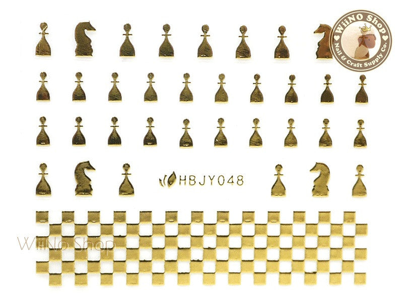 HBJY048 Gold Chess Nail Sticker Nail Art - 1 pc