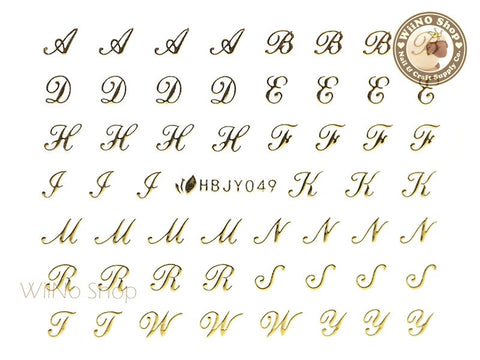 HBJY049 Gold Letter Nail Sticker Nail Art - 1 pc