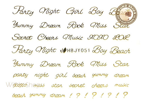 HBJY051 Gold Party Night Nail Sticker Nail Art - 1 pc