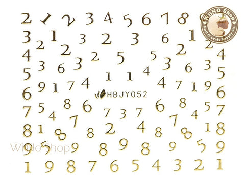 HBJY052 Gold Number Nail Sticker Nail Art - 1 pc