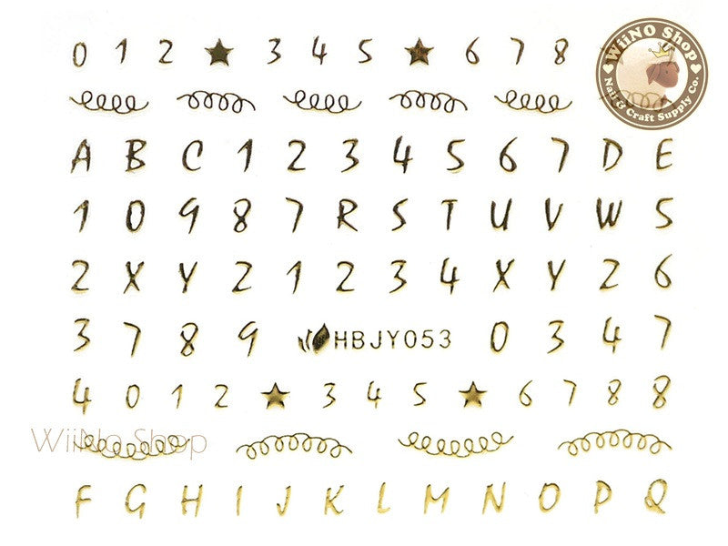 HBJY053 Gold Number Letter Nail Sticker Nail Art - 1 pc