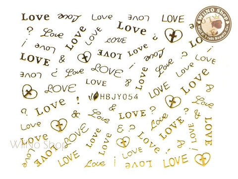 HBJY054 Gold Love Nail Sticker Nail Art - 1 pc