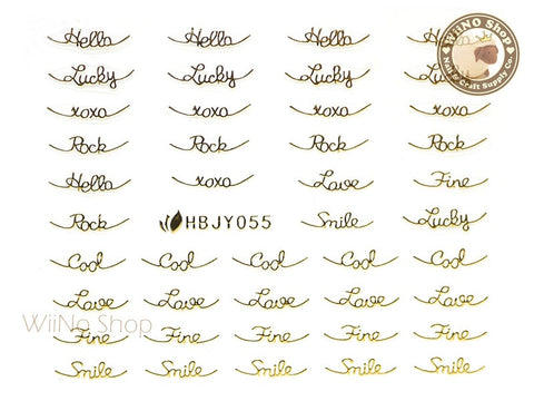 HBJY055 Gold Cool Lucky Love Nail Sticker Nail Art - 1 pc